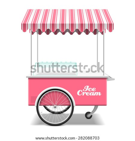 Ice cream cart vector illustration