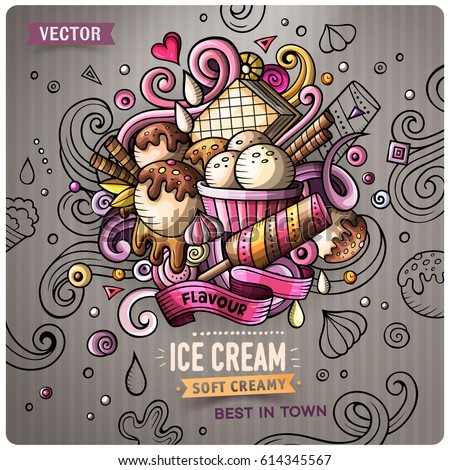 Ice Cream cartoon vector doodle illustration. Colorful detailed design with lot of objects and symbols. All elements separate