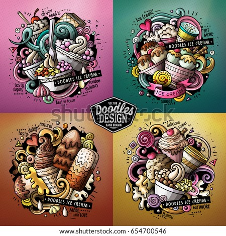 Ice Cream cartoon vector doodle illustration. Colorful detailed designs with lot of objects and symbols. 4 composition set. All elements separate