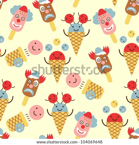 ice cream circus seamless pattern