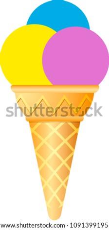 Ice cream cone icon isolated. Modern sweet vanilla desert sign. Trendy vector chocolate cram symbol for web site design, button to mobile app. Logo ice cream illustration.