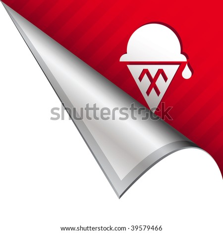 Ice cream cone icon on vector peeled corner tab suitable for use in print, on websites, or in advertising materials.