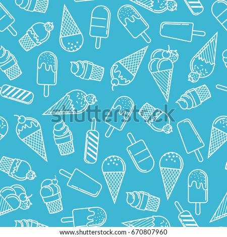 Ice cream cone seamless pattern in blue background. Ice cream line illustration background.