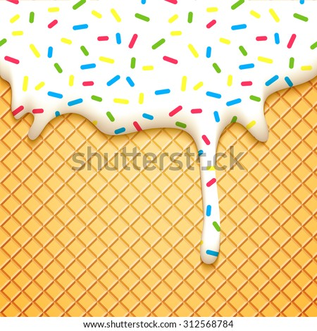 Ice Cream Cone Vector Illustration with Dripping White Glaze and Wafer Texture. Abstract Food Background.