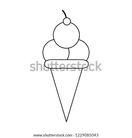 Ice cream cone with three scoops black and white