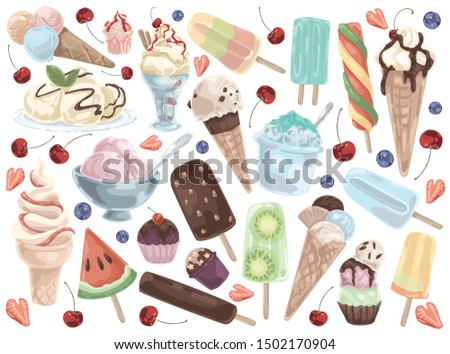 ice cream doodle set on a white