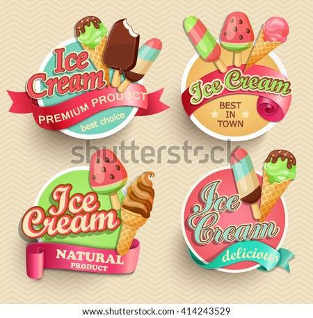 ice cream emblems  labels and