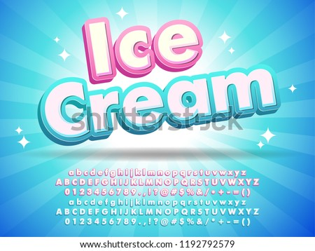 Ice cream font text design, for logo title headline, menu poster banner flyer, clean blue background with little stars