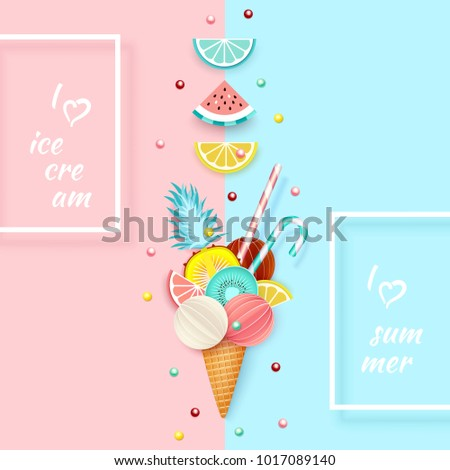 ice cream  fruit  3d  pastel