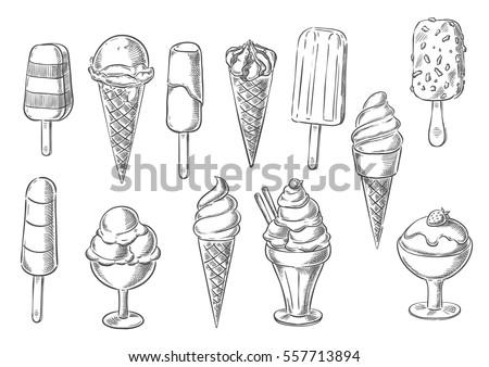 ice cream icons of frozen