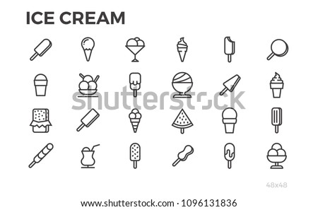 Ice cream icons. Summer dessert, tasty food, sundae and others symbols. Editable stroke. Pixel perfect.