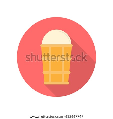 Ice cream in a waffle cup vector. Flat style. Refreshing sweets. Illustration for food concepts, diet infographic, icons or web design. Summer pleasure. Isolated on white background #632667749