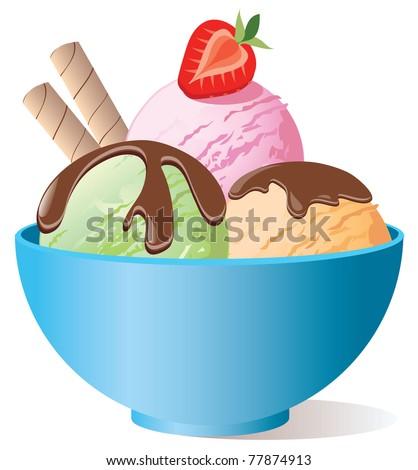 Ice cream in bowl
