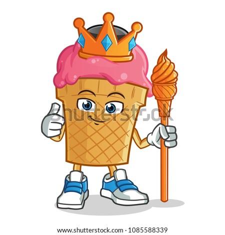 ice cream king mascot vector
