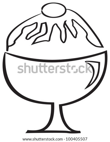 ice cream on bowl illustration