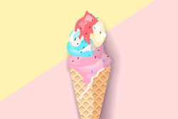 Ice cream on pastel background in flat style design. Fashion trendy background with ice cream, minimalism concept. Ice cream vector illustration for a poster, cards, background.