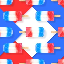 Ice cream popsicles red, white and blue colors seamless pattern. Vector stock illustration