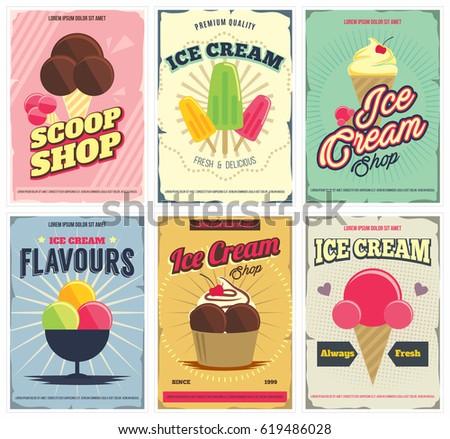 ice cream  posters set in retro ...