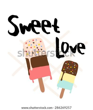 ice cream print with slogan on