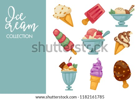 Ice cream scoops in wafer cones cartoon icons.