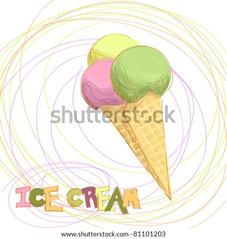 Ice cream scoops on cone - stock vector