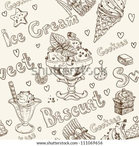 Ice cream seamless background - stock vector