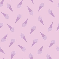 Ice cream seamless doodle pattern. Sweets on a pink background. Ice cream line vector. Design for confectionery, packaging, menu.