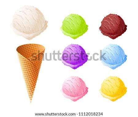 Ice cream. Set of summer sweetness. Milk, chocolate, vanilla, strawberry icecream. Cone cup Ice-cream. Sweet dessert. Frozen product. Isolated white background. EPS10 vector illustration.