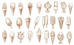 Ice cream sketch icons, isolated vector frozen creamy desserts, gelato icecream, wafer cone. Caramel eskimo or chocolate glaze sundae with nuts, whipped cream, fruit ice, vanilla scoops in glass bowl