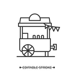 Ice cream stall icon. Food cart linear pictogram. Concept of street fair mobile food stand summer mobile cafe, circus and street food festival activities. Editable stroke vector illustration