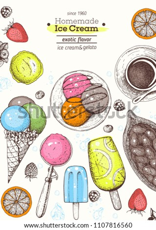 Ice cream top view frame. Hand drawn food elements with ice cream, berries and fruits. Summer food. Vector sketch for vintage menu design.