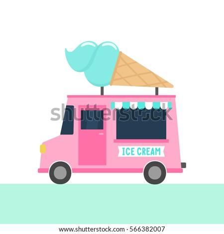 Ice cream truck. Vector hand drawn illustration