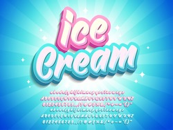 Ice cream typographic style, company logo type, modern script lettering text design, for menu title and poster product advertise.