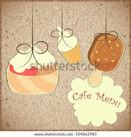 Ice Cream Vintage card Cover retro Menu for Confectionery - Vector illustration
