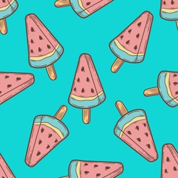 Ice cream, watermelon popsicle dessert food vector seamless pattern. ice milk gelato, frozen yogurt sweet