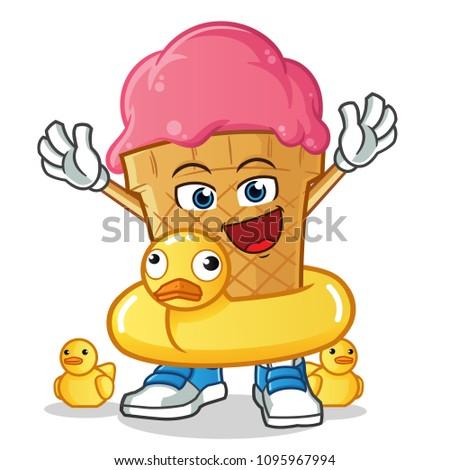 ice cream with buoy mascot