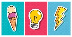 ice cream with light bulb and thunderbolt pop art style icon vector illustration design