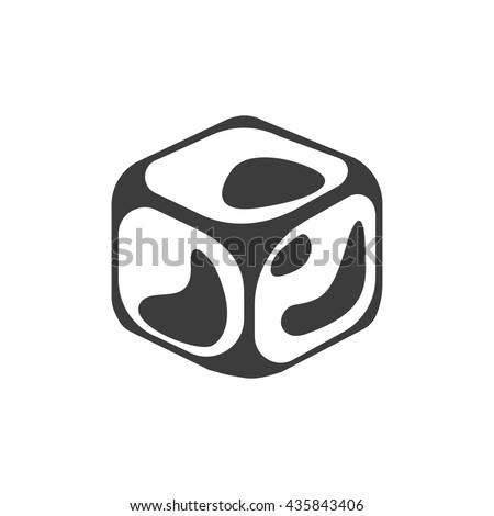 Ice cube icon. Flat vector illustration in black on white background. EPS 10