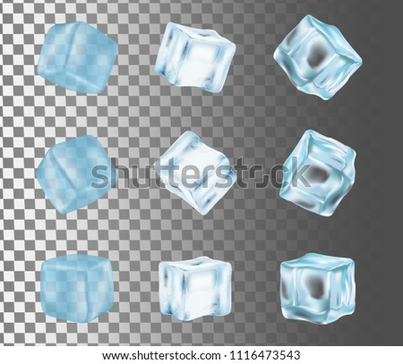 Ice cube icon set. Vector realistic illustration isolated on transparent background.