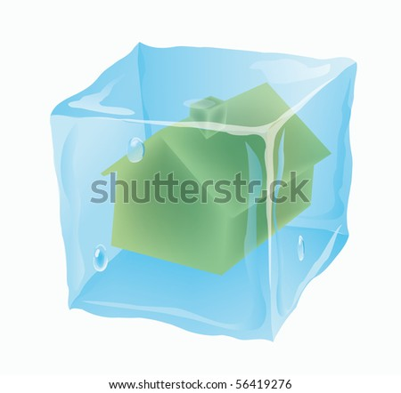 Ice cube in which the house is frozen stock vector illustration