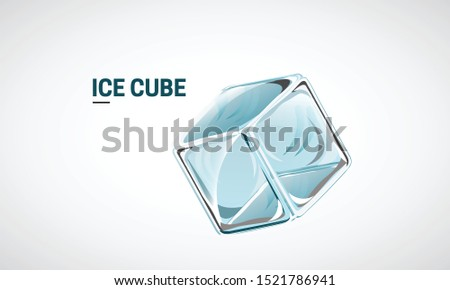 Ice Cube, transparent vector cube illustration, Frozen ice cube with empty space for text for packaging, advertising, flyer, poster. Vector