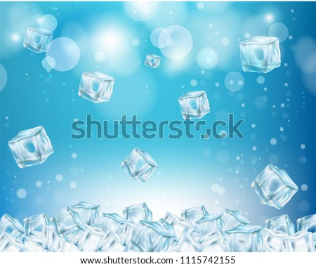 Ice cube wallpaper. Vector realistic illustration. Frozen water cube shape abstract background.