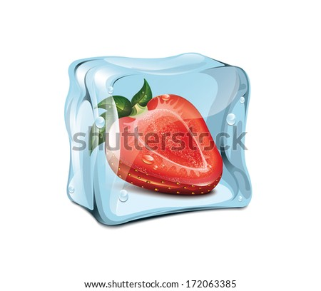 ice cube with strawberries