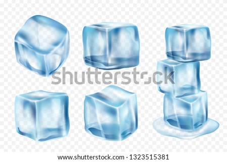 Ice cubes. Freeze water with light reflection and splashes vector realistic ice template