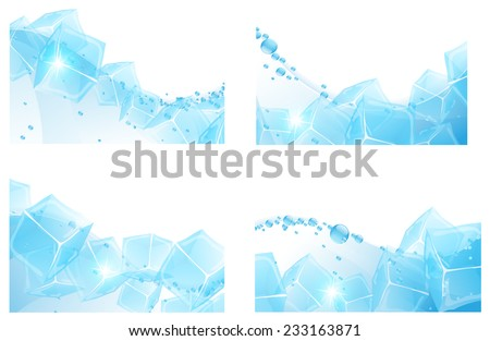 ice cubes in a clear water