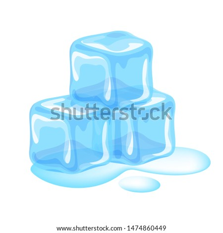 ice cubes isolated on white background, clip art three ice cubes, illustrations pile of ice cubes transparent, ice cubes and water drop melted