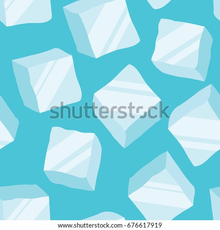 ice cubes on a blue background, seamless pattern. vector illustration