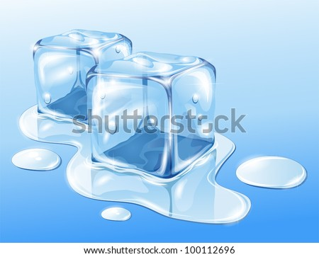 Ice cubes on water surface, illustration