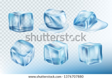 Ice cubes realistic. Puddles smudges and splashes of freeze water vector pictures collection