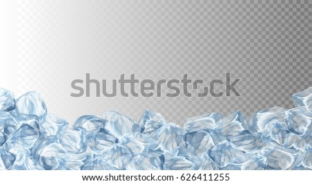 Ice cubes, realistic set, 3d vector illustration. Blue Ice collection, isolated, refresh, transparent background.